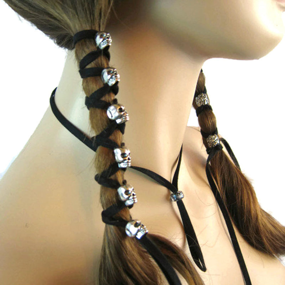 Black Leather Skull Long Ponytail - 35% OFF + FREE SHIPPING - The Creative Booth