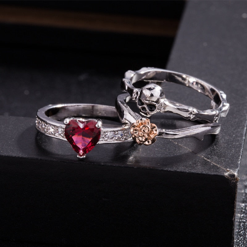 Heart Rose Skull Ring (3 Pieces) - 60% OFF!