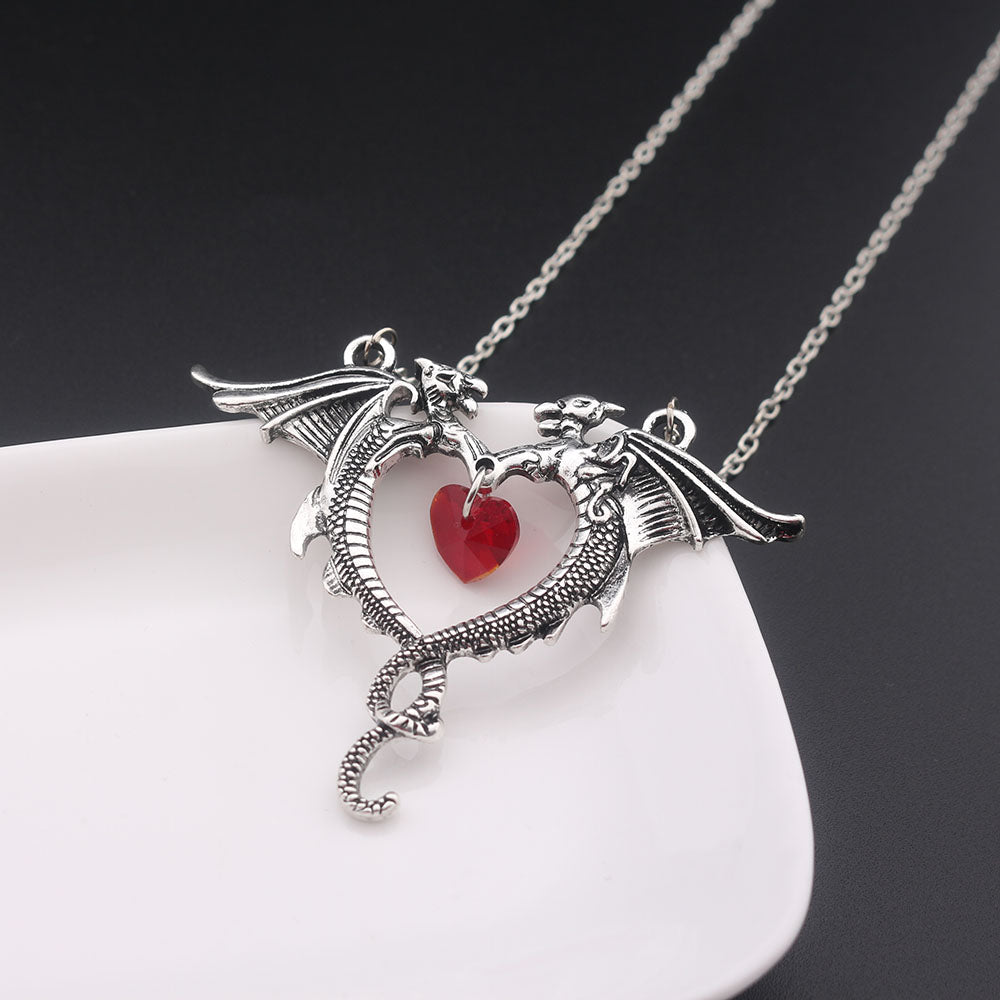 Red Heart Dragon Necklace - The Creative Booth