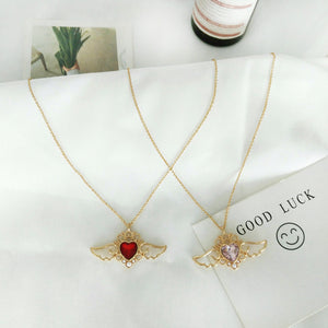 Crown Heart Angel Wings Necklace - The Creative Booth