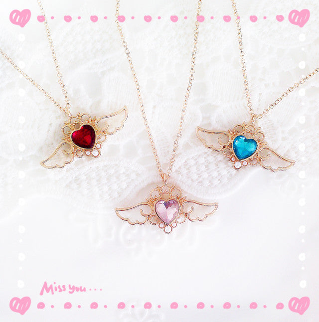 Crown Heart Angel Wings Necklace – 30% Off! - The Creative Booth
