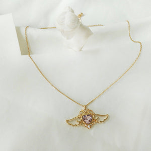 FREE! Crown Heart Angel Wings Necklace - The Creative Booth
