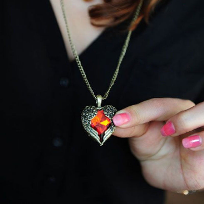 Red Crystal Retro Wing Necklace - The Creative Booth