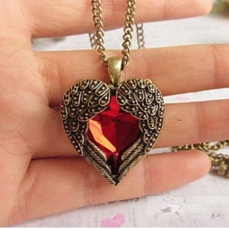 FREE! Red Crystal Retro Wing Necklace - The Creative Booth
