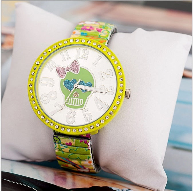 Cute Flowers and Hearts Skull Wristwatch - 30% OFF + FREE SHIPPING - The Creative Booth