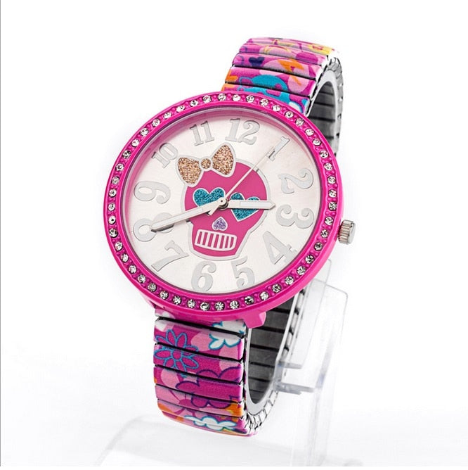Cute Flowers and Hearts Skull Wristwatch - The Creative Booth