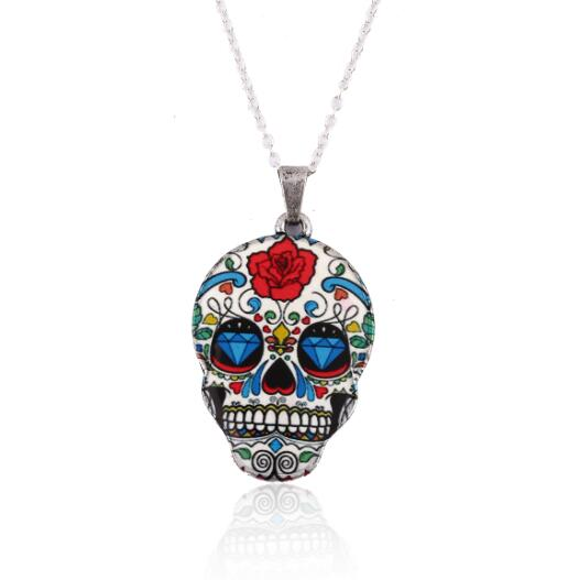 Colorful Skull Rose Necklace - 30% Off - The Creative Booth