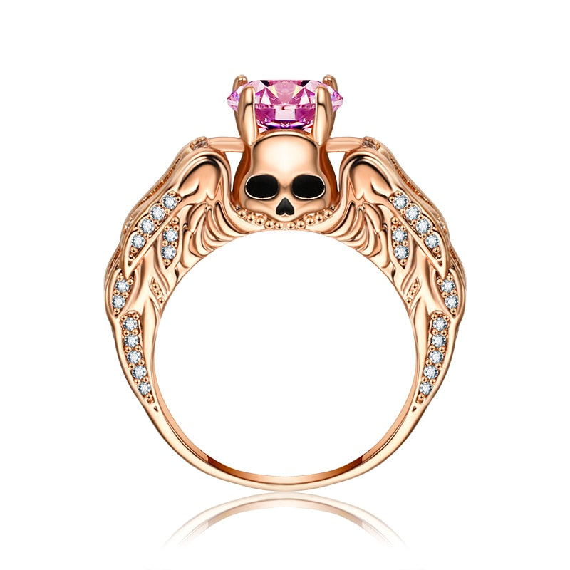 """Hold the crown"" Skull Angel Wings Ring - 30% Off - The Creative Booth"