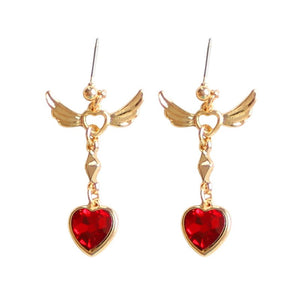 Crystal Red Heart Angel Wing Earrings - The Creative Booth