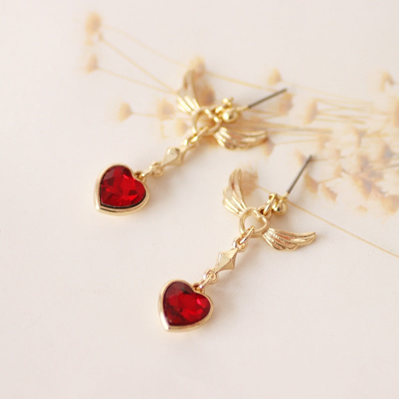 Crystal Red Heart Angel Wing Earrings - 65% OFF - The Creative Booth