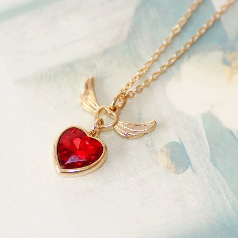 FREE! Crystal Red Heart Angel Wing Short Pendant Necklace - The Creative Booth
