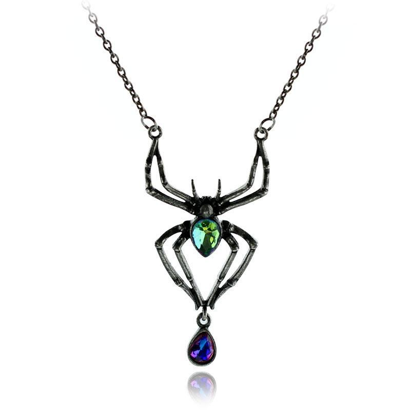 Stained Glass Spider Necklace