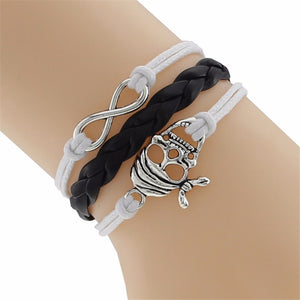 Skull and Infinity Braided Leather Bracelet - 35% OFF + FREE SHIPPING