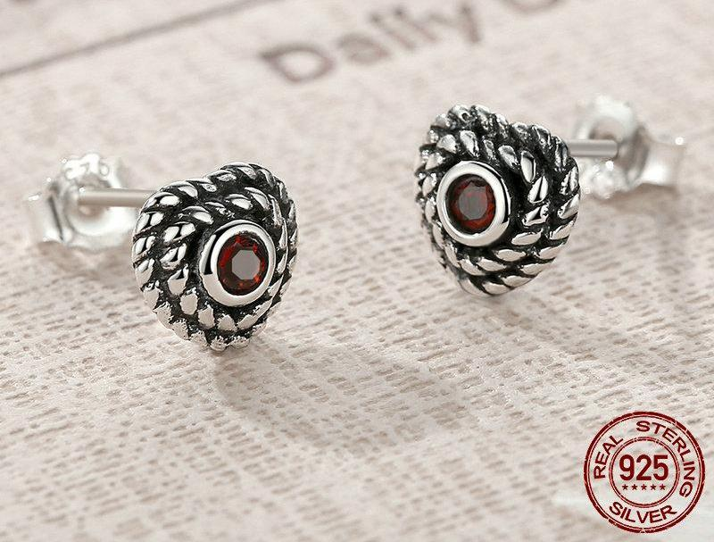 Winding Heart Stud Earrings