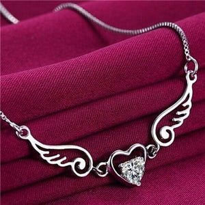 Angel Wings Heart Necklace (Silver) Bundle! Get 2 at 65% Off + FREE Shipping! - The Creative Booth