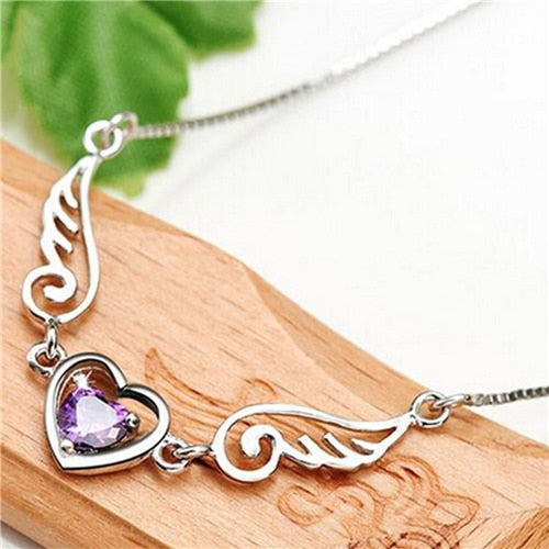 Angel Wings Heart Necklace (Purple) Bundle! Get 2 at 65% Off + FREE Shipping! - The Creative Booth