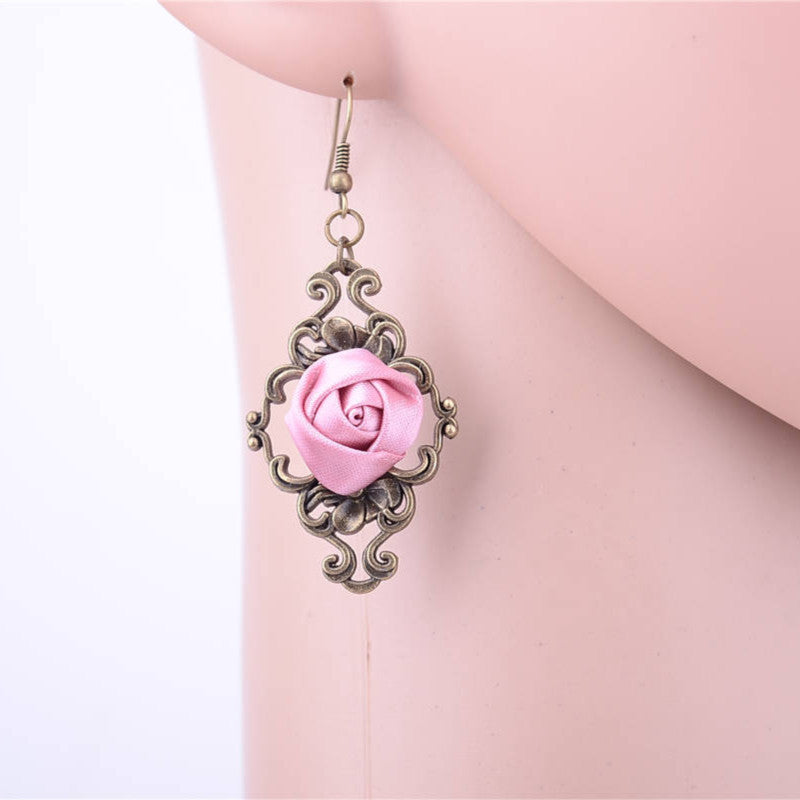 Handmade Powder Pink Rose Earrings - The Creative Booth