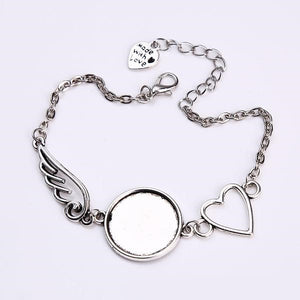 Vintage Heart and Round Wings Bracelet (2 PC)