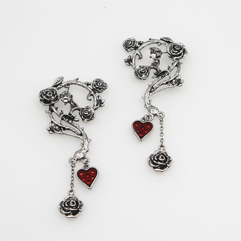 Bloody Heart Rose Earrings - 65% OFF! - The Creative Booth