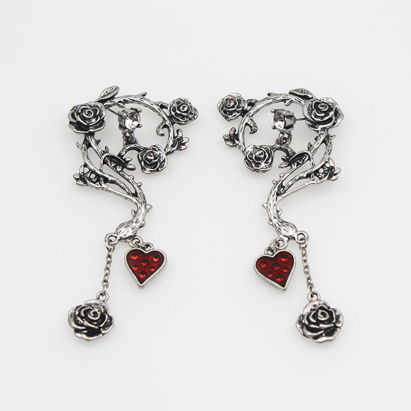 Bloody Heart Rose Earrings - The Creative Booth