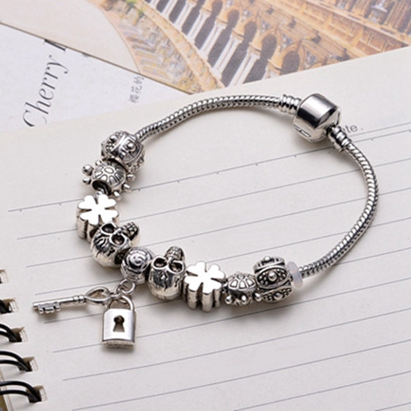 Skull and Love Heart Lock Key Pendant Bracelet