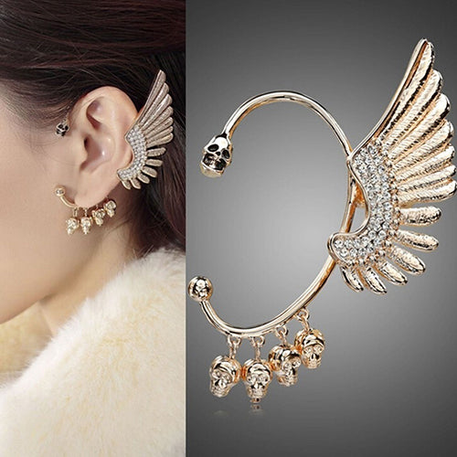 Rhinestone Skull Wing Ear Cuff Clip for Left Ear