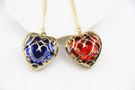 Vintage Red and Blue Heart Necklace