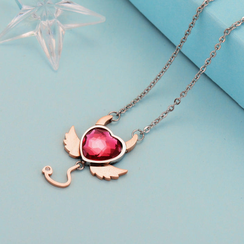 Red Evil Heart Necklace - 65% Off - The Creative Booth