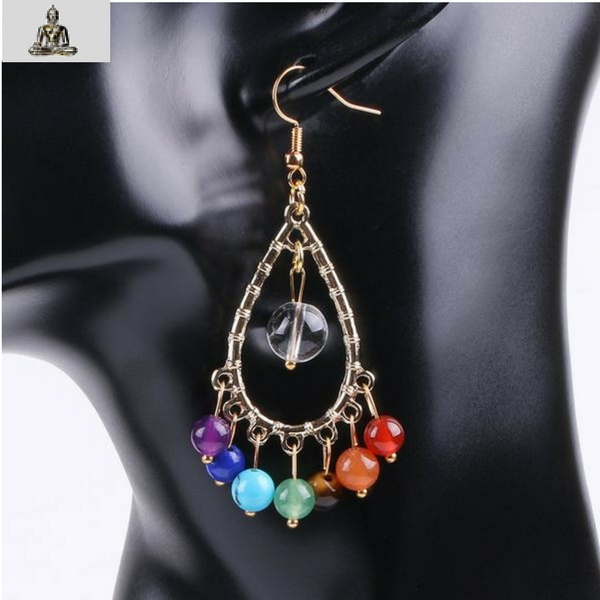 30% Off - Chakras Natural Stone Beads Earrings - The Creative Booth