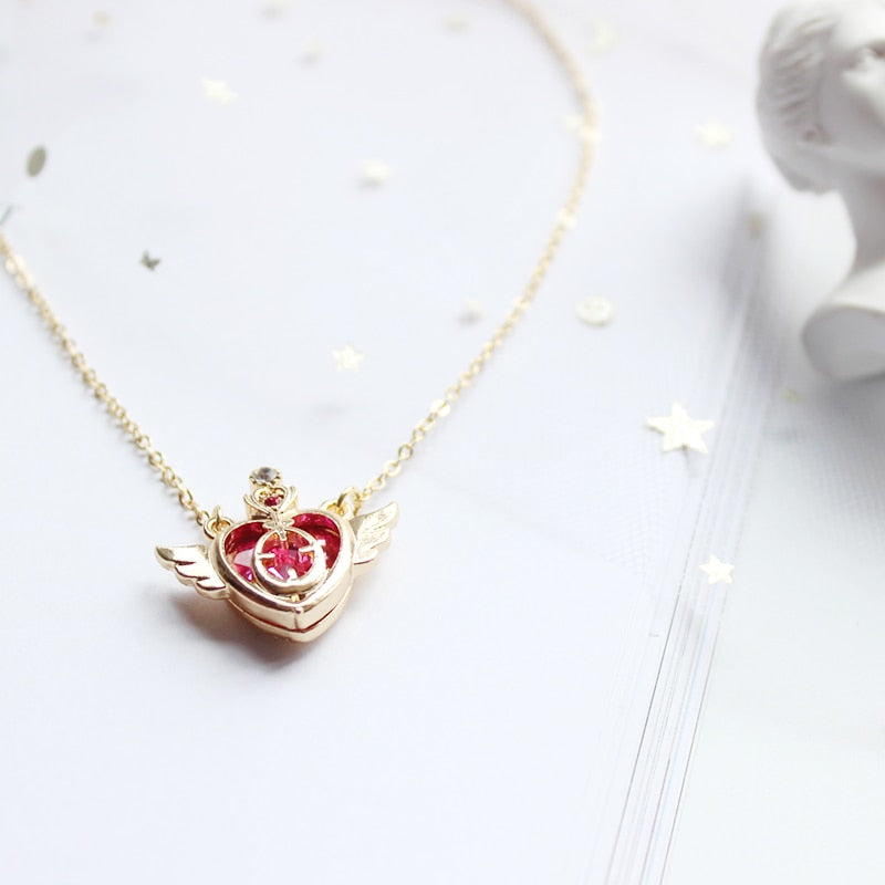 Red Heart Angel Wings Necklace