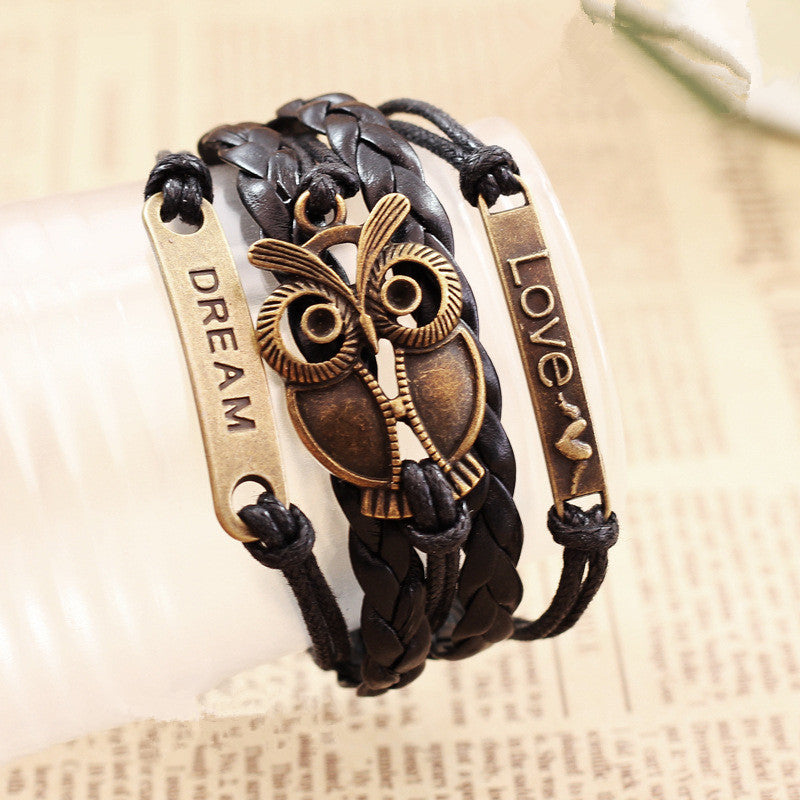 Leather Owl Bracelet - The Creative Booth