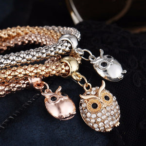 3 Pcs Owl Charm Bracelet - The Creative Booth