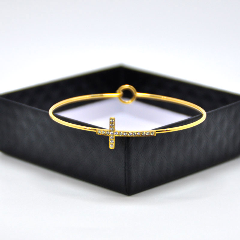 Gold Plated Expandable Cross Wire Bangles Bracelet - The Creative Booth