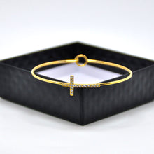 Gold Plated Expandable Cross Wire Bangles Bracelet