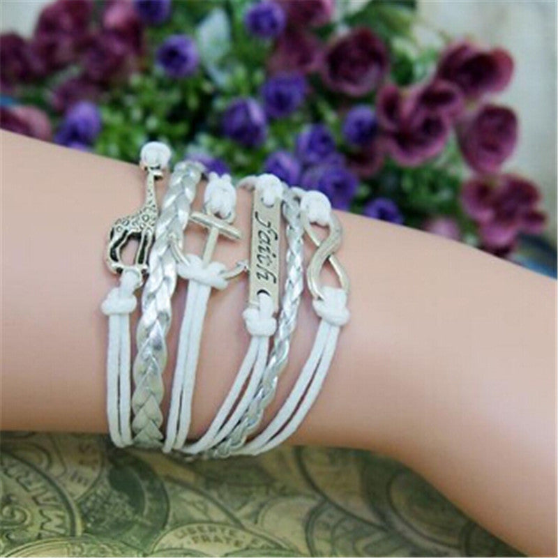Multilayer Leather Braided Faith Bracelets & Bangles - The Creative Booth