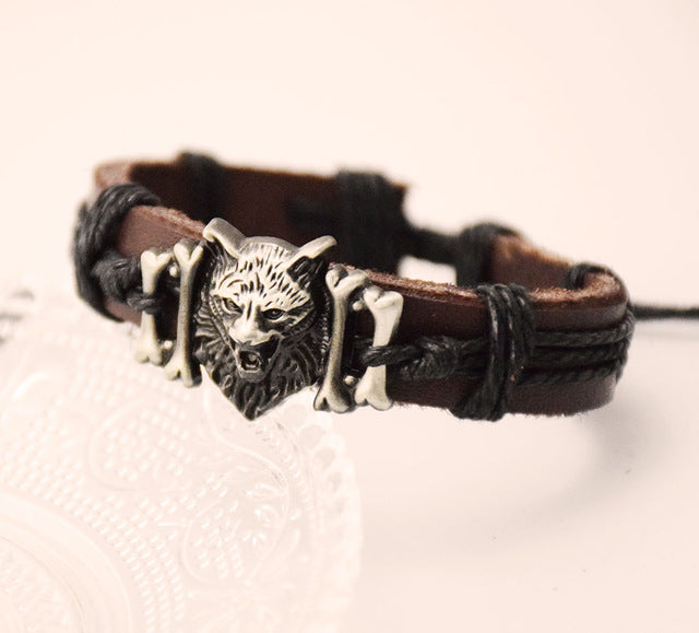 Wolf Head Leather Bracelet - The Creative Booth
