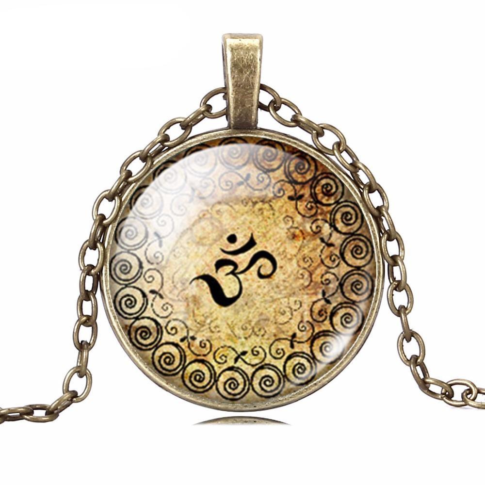 Vintage Bronze and Silver Yoga Pendant - The Creative Booth
