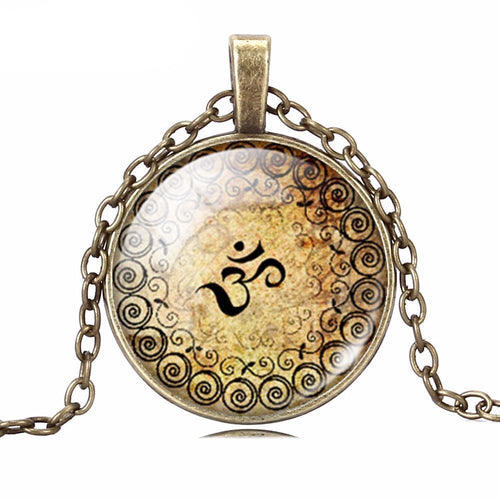 Vintage Bronze and Silver Yoga Pendant