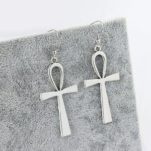 Antique Silver Dangle Egyptian Cross Earrings - The Creative Booth