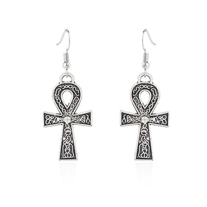 Silver Pattern Egyptian Ankh Cross Dangle Earring - The Creative Booth