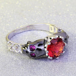 Ruby Red Stone Skull Ring - The Creative Booth