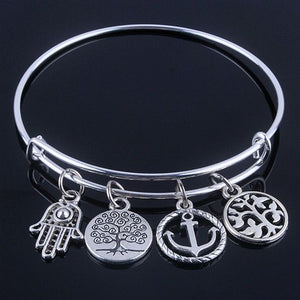 Tree of Life and Anchor Silver Bangle Bracelet - The Creative Booth