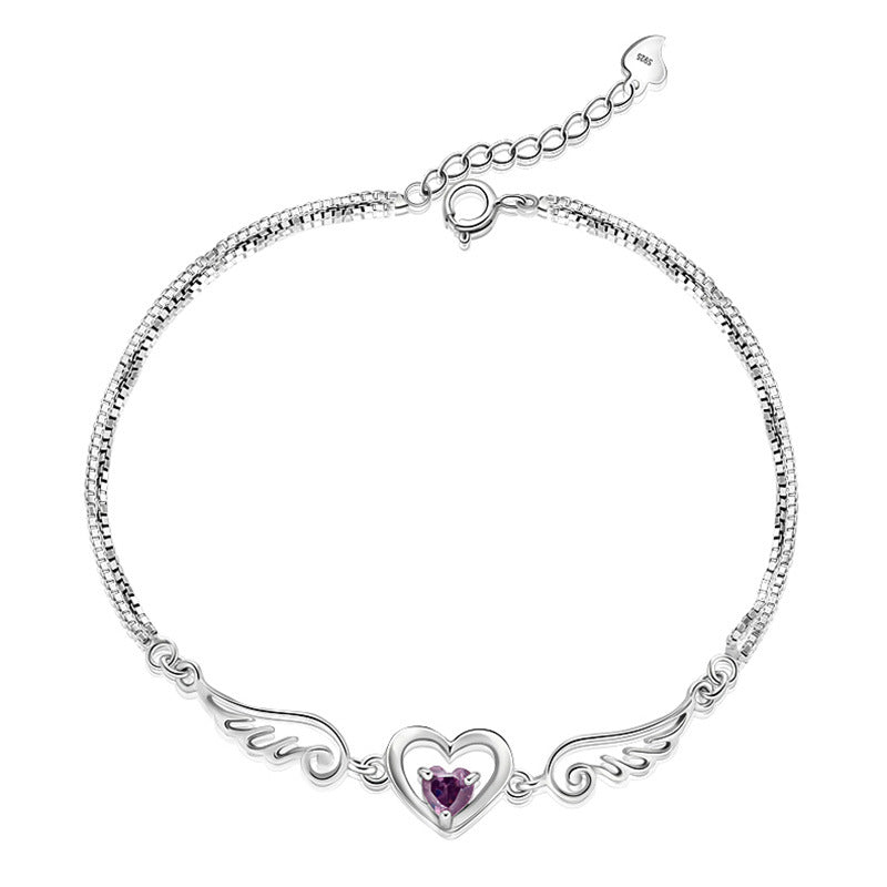Angel Wings Sparkling Stone Heart Bracelet - The Creative Booth