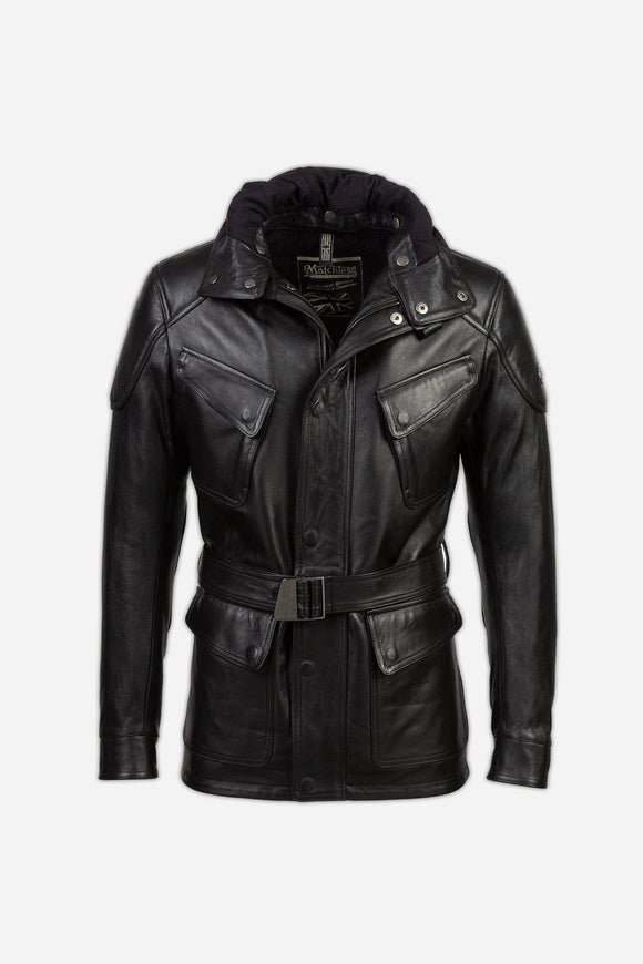STREETFARER LEATHER JACKET W/HOOD MAN