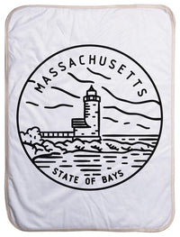 "Massachusetts State Design - Sherpa Baby Blanket (40"" x 30"") 40x30"