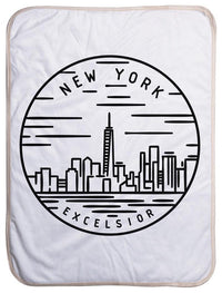 "New York State Design - Sherpa Baby Blanket (40"" x 30"") 40x30"