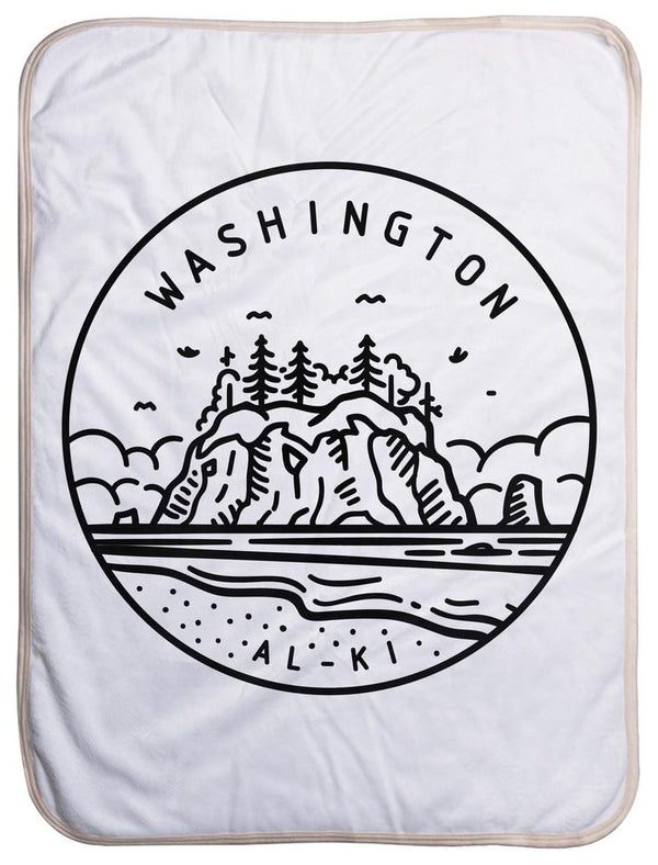 "Washington State Design - Sherpa Baby Blanket (40"" x 30"") 40x30"