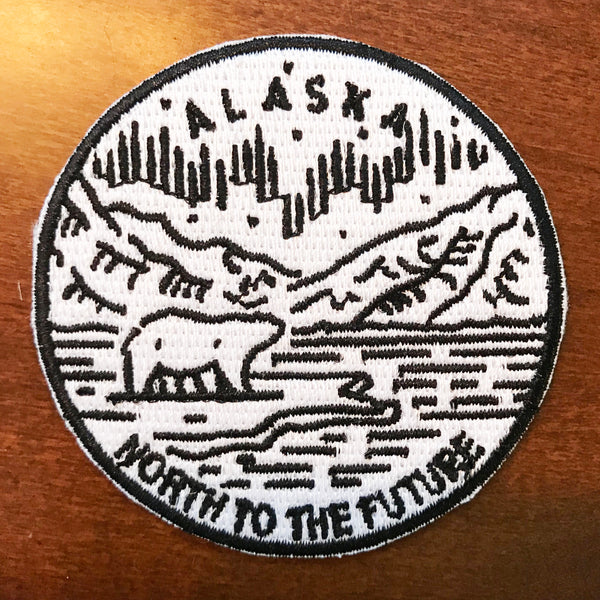 Alaska Patch Mountain & Bear - 100% Embroidery Sew or Iron-on Alaska Patch (2.5 inches wide)