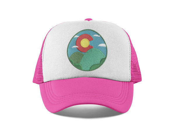 Colorado Kid's Trucker Hat (Ages 2-10) - Colorado Sunrise & Hills Snapback Infant Hat / Toddler Hat  / Kid's Hat