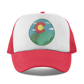 Colorado Kid's Trucker Hat (Ages 2-10) - Colorado Sunrise & Hills Snapback Toddler Hat / Kid's Hat